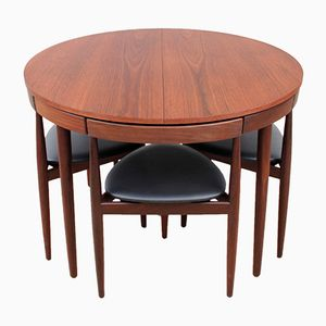 Mid-Century Teak Dining Table & 4 Chairs by Hans Olsen for Frem Røjle