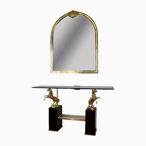 Consolle vintage con specchio, anni '70
