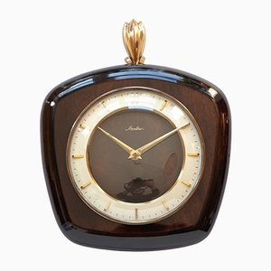 German Wood & Brass Wall Clock from Mauthe, 1960s