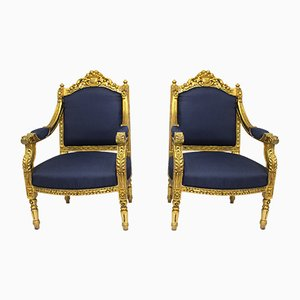 Antique Louis XVI Blue Armchairs, Set of 2