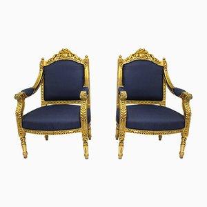 Poltrone antiche in stile Luigi XVI blu, set di 2