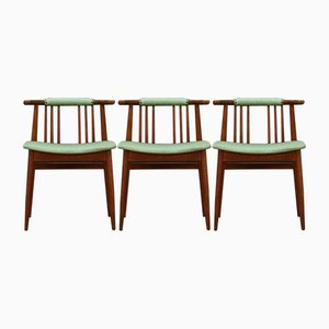Grüne dänische Mid-Century Stühle, 3er Set