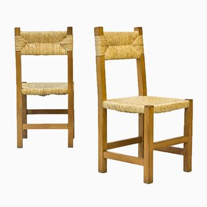 French Rustic Chairs in Straw & Beech, 1960s, Set of 4