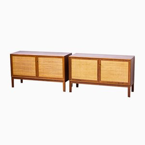 Swedish Teak & Rattan Sideboards by Alf Svensson for Bjästa, 1960s, Set of 2