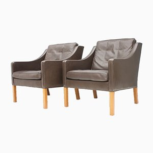2207 Lounge Chairs in Chocolate Brown Leather by Børge Mogensen for Fredericia, 1970s, Set of 2
