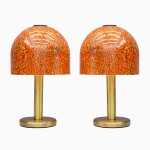 Glass & Brass Table Lamps from Peil & Putzer, 1970s, Set of 2