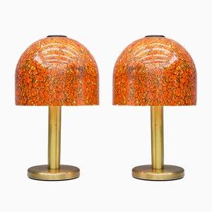 Lampade da tavolo in vetro e ottone di Peil & Putzer, anni '70, set di 2