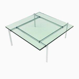 Mesa de centro PK 61 de vidrio y acero de Poul Kjaerholm para E. Kold Christensen, años 60