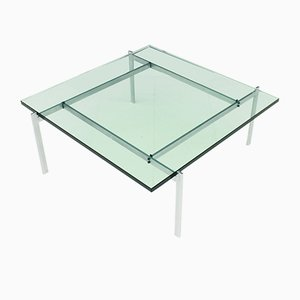 PK 61 Coffee Table in Steel & Glass by Poul Kjaerholm for E. Kold Christensen, 1960s