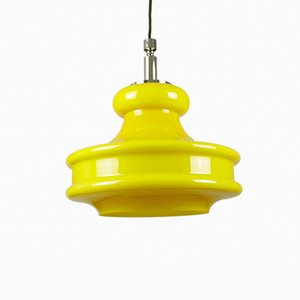 Large Yellow Glass Pendant Lamp from Peill & Putzler, 1960s