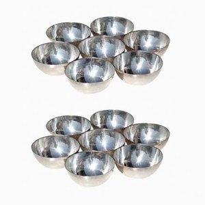 Italienische Schalen aus silbernem Metall von Lino Sabattini, 1960er, 2er Set