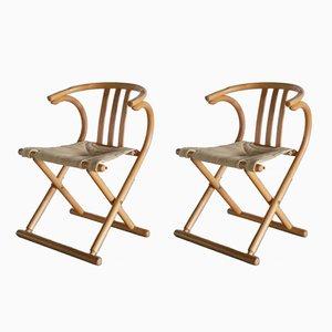 Chaises Pliantes en Bois & Toile, 1960s, Set de 2