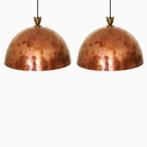 Copper Pendant Lamps with Brass Details, 1950s, Set of 2