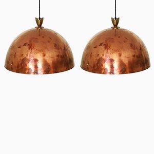 Lampes à Suspension en Cuivre avec Détails en Laiton, 1950s, Set de 2