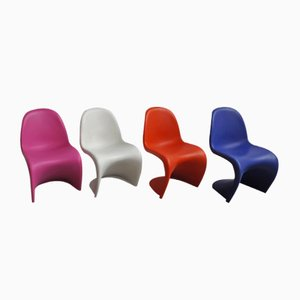 Colourful Block Chairs by Verner Panton for Vitra, 1990s, Set of 4