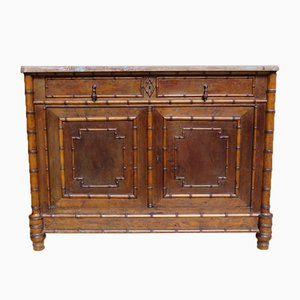 Antique Faux Bamboo Birds Eye Maple Buffet with Marble Top