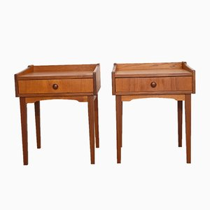 Vintage Scandinavian Teak Bedside Tables, Set of 2