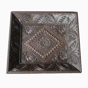 Antikes Layette Tablett aus geschnitzter Eiche