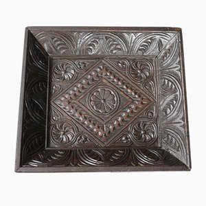 Antique Layette Tray in Carved Oak