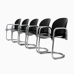 Dialogo Chrome Dining Chairs by Tobia Scarpa for B&B, 1970s, Set of 5