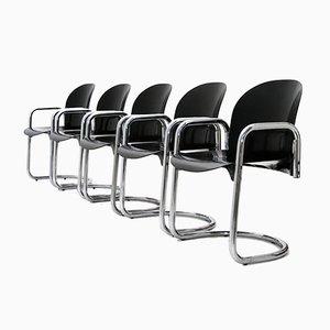 Dialogo Esszimmerstühle aus Chrom von Tobia Scarpa für B&B, 1970er, 5er Set