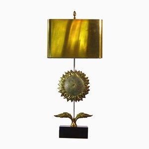 Lámpara de mesa girasol dorado de Chrystiane Charles para Maison Charles, años 60