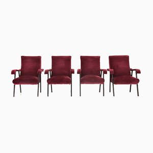 Italian Velvet Armchairs, 1950s, Set of 4