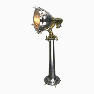 Industrielle japanische Scheinwerfer-Stehlampe aus Messing & Edelstahl von Fox Light, 1970er