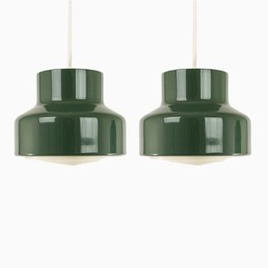 Scandinavian Green Pendants, 1970s, Set of 2