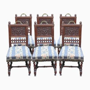 Breton Oak Dining Chairs with Highly Carved Back Panels, 1940s, Set of 6
