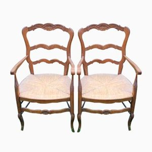 Carved Walnut Armchairs, 1920s, Set of 2