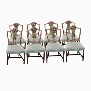 Esszimmerstühle aus Mahagoni mit Weizengarbe-Optik, 1960er, 8er Set