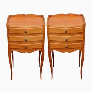 Carved Beech Bedside Tables, 1940s