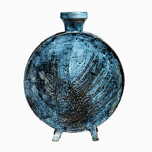 Blaue italienische Vase von Giuseppe Rossicone, 1960er