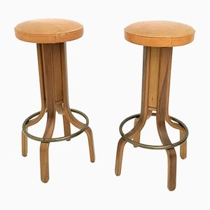 Camel Colored Leather & Walnut Plywood Swivel Stools, 1970s, Set of 4
