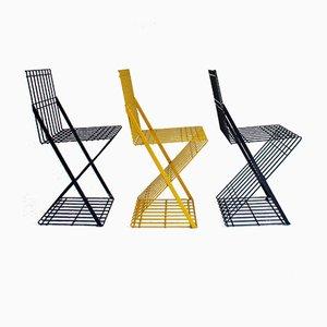 Italienischer postmoderner Metallstuhl, 1980er, 3er Set