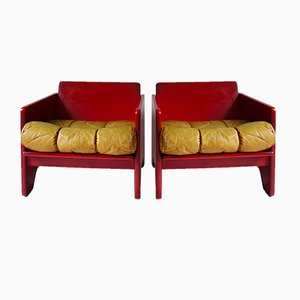 Modernist Red Lounge Chairs from Poltronova, 1970s, Set of 2