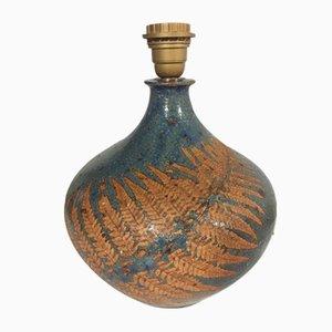 Base da lampada in ceramica con felce, anni '70