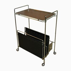Teak & Chrome Serving Bar Trolley with Newspaper Rack, 1960s