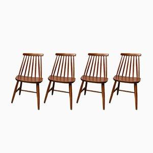 Chaises de Salon Vintage en Bois, Set de 4