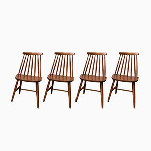 Sedie da pranzo vintage in legno, set di 4