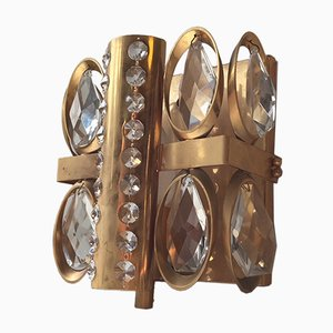 Vintage Danish Modern Crystal & Gilt Sconce, 1970s