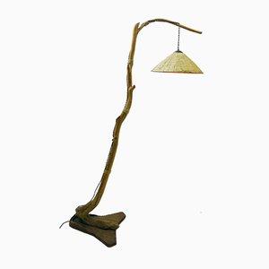 Lámpara de pie con rama de árbol de pantalla de rafia