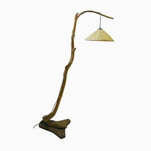 Tree Branch Floor Lamp with Raffia Lampshade