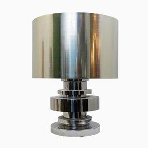 Große Tischlampe aus verchromtem Silber, 1970er
