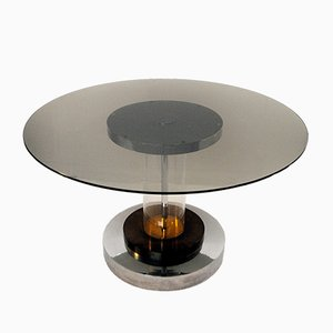 Round Brass & Chrome Table by Romeo Rega, 1970s