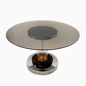 Runder Tisch aus Messing & Chrom von Romeo Rega, 1970er