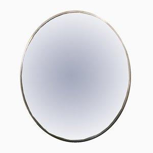 Specchio grande rotondo in metallo, anni '70