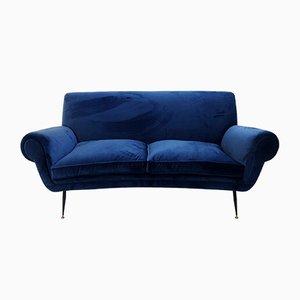 Canapé Vintage en Velours Bleu Profond par Gigi Radice