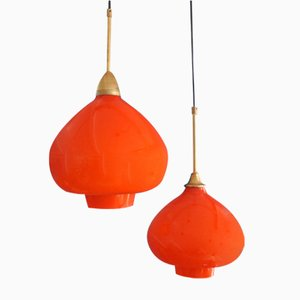 Vintage Opaline Glass & Brass Pendant Lamps by Hans-Agne Jakobsson, Set of 2